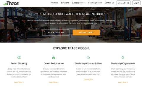Screenshot of Products Page tracerecon.com - explore-trace - Trace Recon - captured July 8, 2018