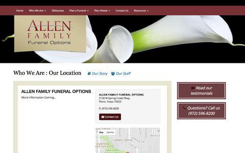Screenshot of Locations Page affoplano.com - ALLEN FAMILY FUNERAL OPTIONS   Facility   ALLEN FAMILY FUNERAL OPTIONS - captured Oct. 8, 2017