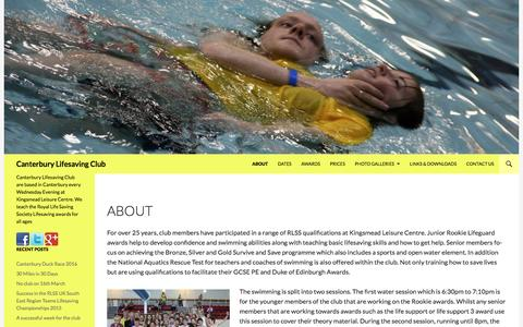 Screenshot of About Page eksls.org - About | Canterbury Lifesaving Club - captured June 11, 2016