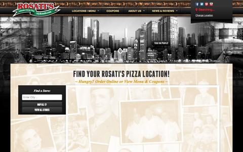 Screenshot of Signup Page Menu Page Locations Page myrosatis.com - Rosati's Pizza - Rosati's Pizza Locations | Rosati's Menu & Coupons Near You! - captured Oct. 26, 2014