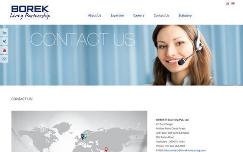 Screenshot of Contact Page Locations Page borek-it-sourcing.com - BOREK: Living Partnership - captured Oct. 22, 2014