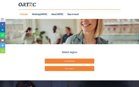 Screenshot of Jobs Page ortec.com - Careers @Ortec - captured July 18, 2019