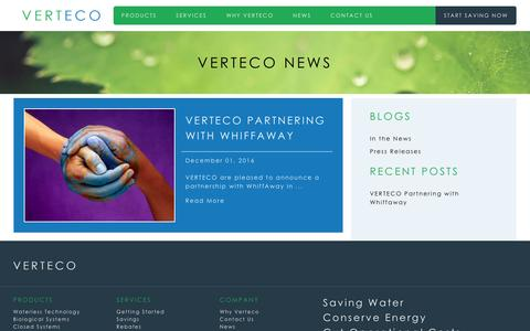 Screenshot of Press Page verteco.com - News - VERTECO USAVERTECO USA - captured Dec. 3, 2016