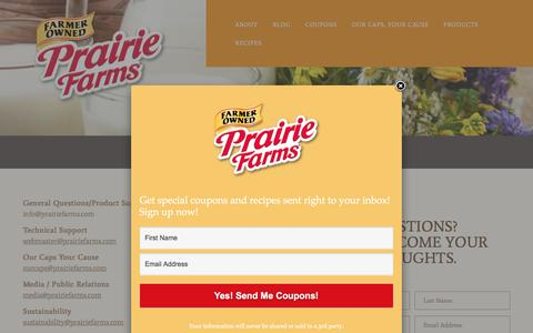 Screenshot of Contact Page prairiefarms.com - Contact | Welcome to Prairie Farms - captured May 20, 2017