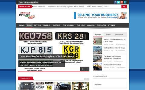 Screenshot of Blog kenyacarbazaar.com - Get the latest news on car importation, duty calculation, cars for sale in kenya plus much more. - captured Sept. 19, 2014