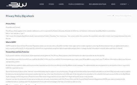 Screenshot of Privacy Page bigwheels-sounddesign.com - Privacy Policy Big wheels - Big Wheels Studio | Sound design for games - captured Dec. 18, 2018