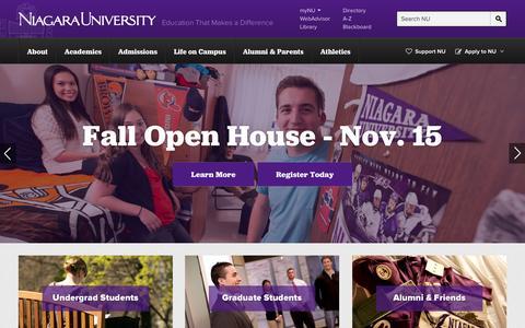 Screenshot of Home Page Menu Page niagara.edu - Niagara University | Education that makes a difference. - captured Oct. 9, 2014