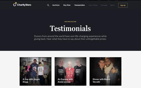 Screenshot of Testimonials Page charitystars.com - Testimonials - CharityStars - captured Sept. 29, 2018