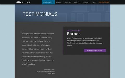 Screenshot of Testimonials Page flite.com - Testimonials · About · Flite - captured July 19, 2014