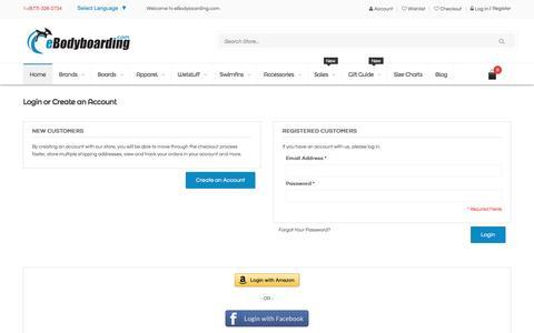 Screenshot of Login Page ebodyboarding.com - Customer Login - captured Jan. 14, 2016