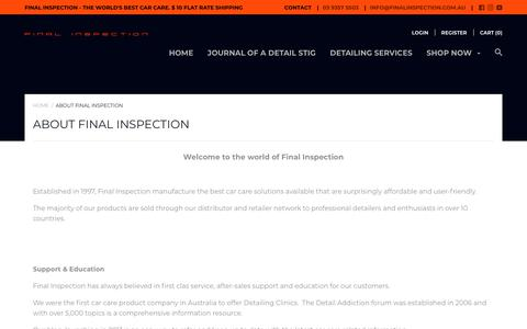 Screenshot of About Page finalinspection.com.au - About Final Inspection – Final Inspection Auto Boutique - captured Dec. 10, 2017