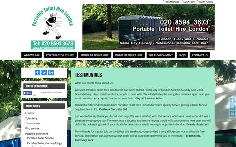 Screenshot of Testimonials Page portabletoilethirelondon.com - Testimonials for Portable Toilet Hire London | Portable Toilet Hire London - captured Sept. 30, 2014