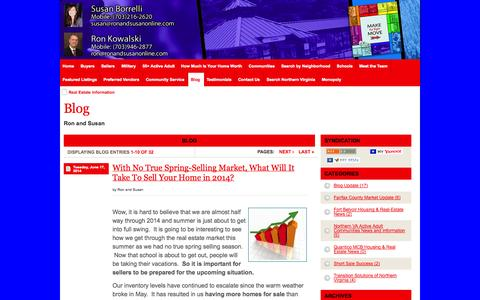 Screenshot of Blog northernvirginiaselectproperties.com - Real Estate Information - RE/MAX Gateway - Ron & Susan Associates Northern Virginia Real Estate - captured Oct. 6, 2014
