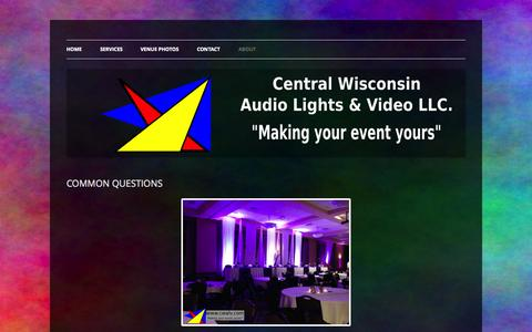 Screenshot of FAQ Page cwalv.com - COMMON QUESTIONS | CENTRAL WISCONSIN AUDIO, LIGHTS, & VIDEO LLC - captured Oct. 2, 2014
