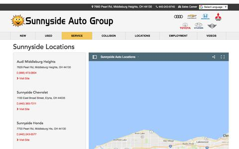 Screenshot of Locations Page sunnysideauto.com - North Olmsted OH Audi Chevrolet Honda Mitsubishi Toyota Dealer - captured Oct. 24, 2017
