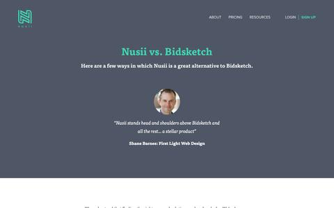 Screenshot of nusii.com - Why Nusii is a great alternative to Bidsketch - captured Oct. 2, 2016