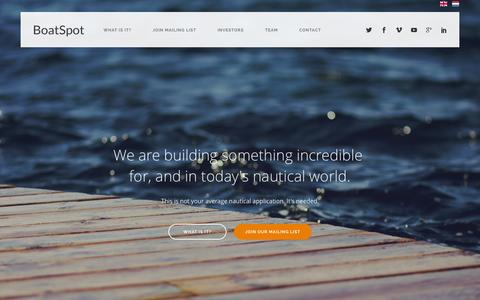 Screenshot of Home Page boatspot.com - BoatSpot.com - Nautical Application - Dutch Tech Startup - captured Jan. 28, 2015