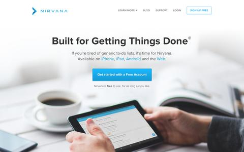 Screenshot of Home Page nirvanahq.com - Nirvana - GTD Software and GTD Apps for Getting Things Done - captured Nov. 18, 2015