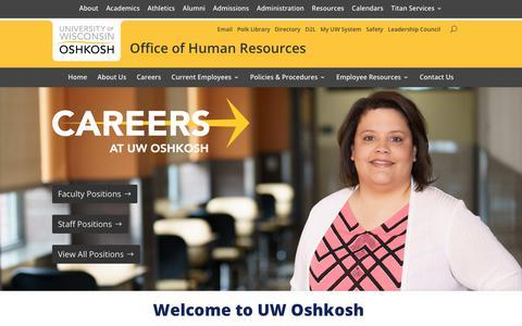 Screenshot of Jobs Page uwosh.edu - Careers at UW Oshkosh - Human Resources University of Wisconsin Oshkosh - captured Sept. 22, 2018