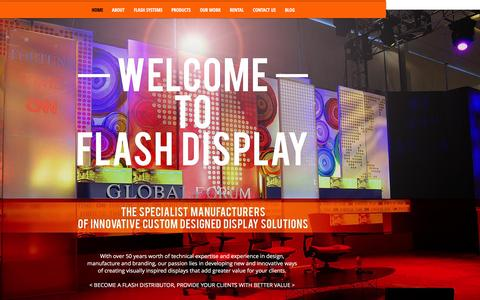 Screenshot of Home Page flashdisplay.co.za - Flash Display Solutions | Backdrops, Banners, Exhibition Stand Design - captured Feb. 10, 2016