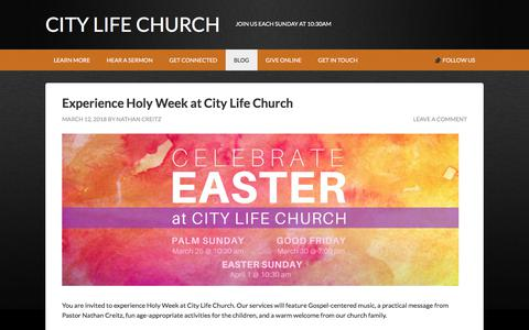 Screenshot of Blog citylifechurchnyc.com - Blog Archives - City Life Church - captured July 18, 2018