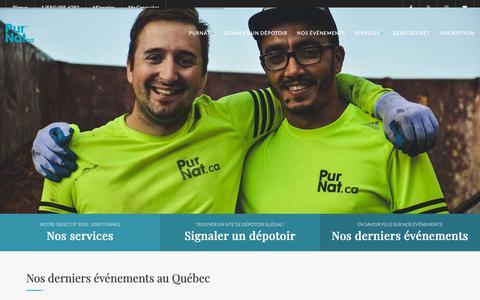 Screenshot of Home Page purnat.ca - PurNat - Pour une nature libre de déchet - captured Sept. 30, 2018
