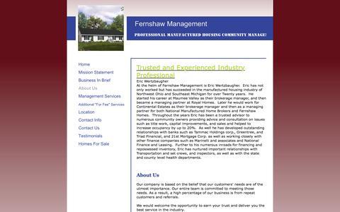 Screenshot of About Page fernshawmanagement.com - Fernshaw Management - About Us - captured Jan. 8, 2016