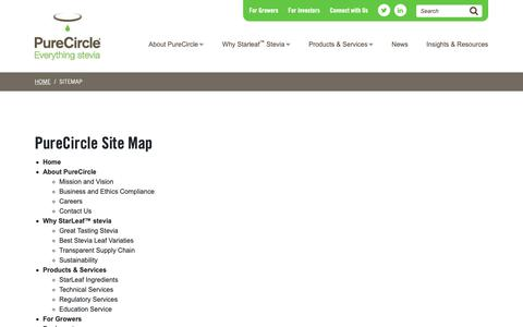 Screenshot of Site Map Page purecircle.com - Sitemap - Leading Producer and Marketer of Pure Stevia Extract - captured Sept. 30, 2018