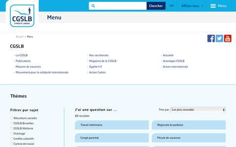 Screenshot of Menu Page cgslb.be - Menu   CGSLB - captured Sept. 25, 2018