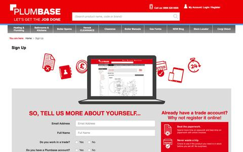 Screenshot of Signup Page plumbase.co.uk - Sign Up - captured July 14, 2016