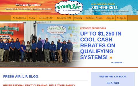 Screenshot of Blog freshairinc.com - Air Conditioning & Heating Blog | Fresh Air, L.P. - captured Oct. 11, 2018