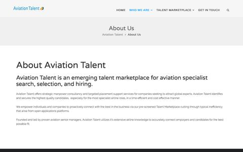 Screenshot of About Page aviationtalent.com - About Us – Aviation Talent - captured July 29, 2018