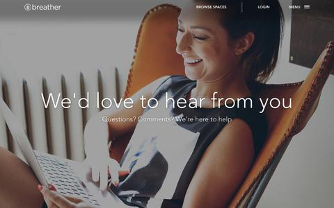 Screenshot of Contact Page breather.com - Contact Us | Breather - captured Aug. 11, 2018