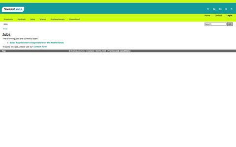 Screenshot of Jobs Page swisslens.ch - SwissLens contact lenses - Jobs - captured Oct. 7, 2014