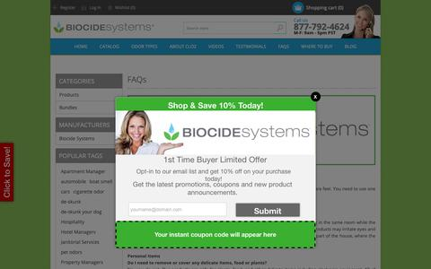 Screenshot of FAQ Page biocidesystems.com - FAQs about Biocide odor eliminator. - captured Dec. 25, 2018