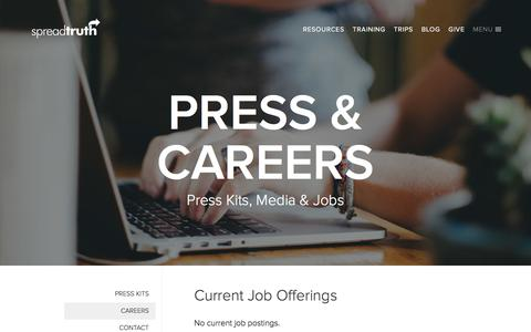 Screenshot of Jobs Page spreadtruth.com - SpreadTruth.com | Resources, Training and Experiences designed to equip the local Church - captured Feb. 15, 2016