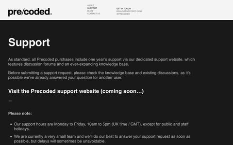 Screenshot of Support Page precoded.com - Support | Precoded - captured March 2, 2016