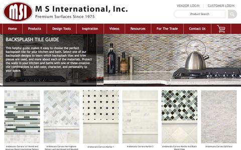 Screenshot of msistone.com - Backsplash Tile Guide | Kitchen Backsplash Designs - captured March 17, 2017