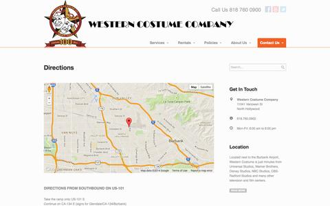 Screenshot of Contact Page Maps & Directions Page westerncostume.com - Directions | Western Costume Company - captured Oct. 22, 2014