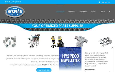 Screenshot of Products Page hyspeco.com - Inventory – Hyspeco Inc. - captured Sept. 30, 2018