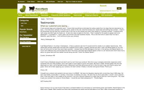 Screenshot of Testimonials Page rascalspots.com - Testimonials - captured Oct. 27, 2014