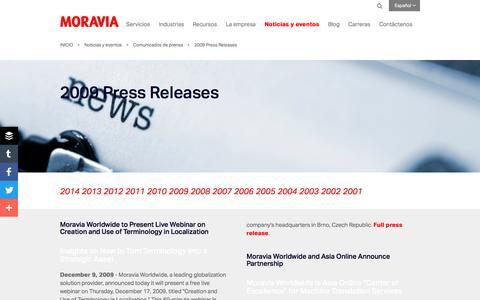 Screenshot of Press Page moravia.com - 2009 Press Releases - Moravia - captured Oct. 3, 2017