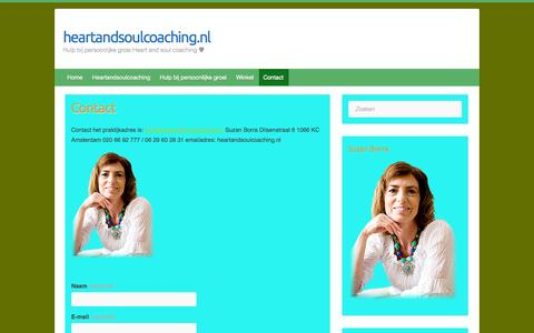 Screenshot of Contact Page heartandsoulcoaching.nl - Contact - heartandsoulcoaching.nl - captured Sept. 29, 2014