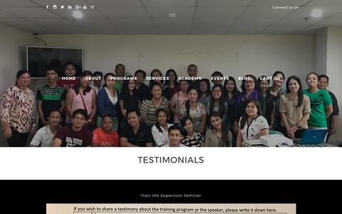 Screenshot of Testimonials Page lifequestphilippines.com - TESTIMONIALS - captured Aug. 6, 2017