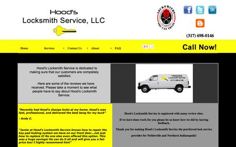 Screenshot of Testimonials Page hoodslock.com - Hood's Locksmith Service - What people are saying about this Noblesville Locksmith - captured Oct. 3, 2014