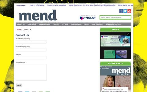 Screenshot of Contact Page iengage.uk.net - Contact Us - MEND - captured Oct. 1, 2014