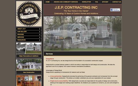 Screenshot of Services Page jepcontracting.com - Services - J.E.P. Contracting Inc - captured Oct. 3, 2014