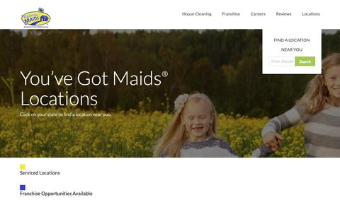 Screenshot of Locations Page youvegotmaids.com - You've Got Maids | Locations - captured Oct. 19, 2018