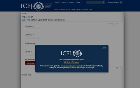 Screenshot of Signup Page icej.org - Sign Up | ICEJ International - captured Oct. 12, 2018