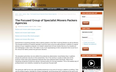 Screenshot of forwhiskeylovers.com - The Focused Group of Specialist Movers Packers Agencies | ForWhiskeyLovers - captured April 9, 2016